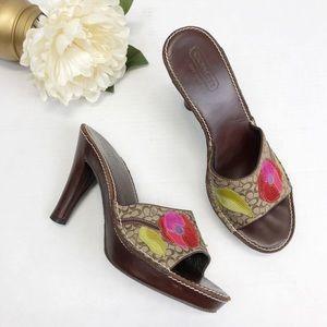 Coach Katalina Floral Leather Sandals Sz 8.5
